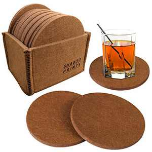 12PCS Felt Coasters for Drinks Absorbent with Multipurpose Holder,Drink Coaster Set,Coasters for Wooden Table Protection Home Office Coffee Table Decor - Housewarming Gift (Brown)