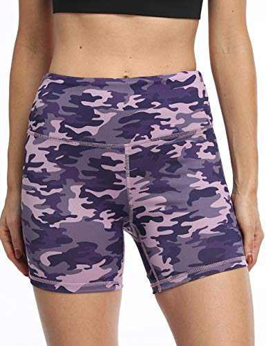 OXZNO Women's High Waist Workout Shorts Non See-Through Yoga Biker Athletic Shorts with Pockets for Women(LB,L)