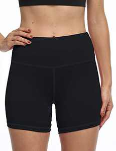 OXZNO Women's High Waist Workout Shorts Non See-Through Yoga Biker Athletic Shorts with Pockets for Women(P-Black,M)