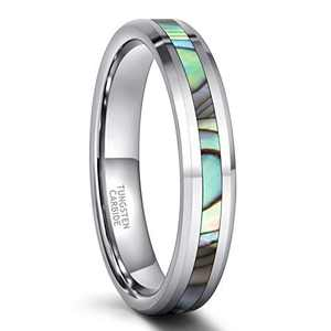 Frank S.Burton 4mm Tungsten Ring Wedding Band for Men Women Abalone Inlay Domed Engagement Comfort Fit Size 5.5