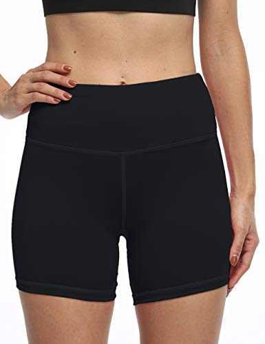 OXZNO Women's High Waist Workout Shorts Non See-Through Yoga Biker Athletic Shorts with Pockets for Women(P-Black,XXL)