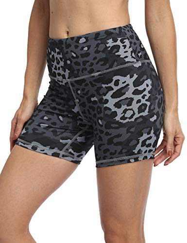 IOJBKI High Waisted Biker Shorts Tummy Control Yoga Workout Running Shorts with Pockets for Women(KH510-Deep Grey Leopard-S)
