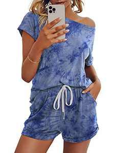 Saslax Womens Solid Pajamas Set Lounge Set Short Sleeve Tops and Shorts 2 Piece Loungewear Sleepwear Pjs, Bluetiedye Medium