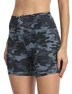 IOJBKI High Waisted Biker Shorts Tummy Control Yoga Workout Running Shorts with Pockets for Women(KH510-Grey Camouflage-XL)