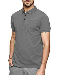 LecGee Men's Short Sleeve Polo Shirt Casual Solid Golf Polo Regular Fit Polo T Shirt with Pocket