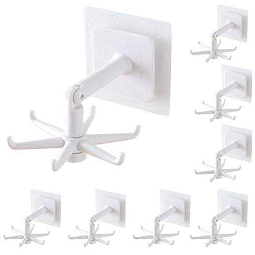 iClsoam Rotating Folding Hook,8PCS Hole-Free Wall Hanging 360° Rotating 6-Claw Storage Rack for Bathroom Kitchen Hanger Organizer Wall Mount and Under Cabinet Holder (White)