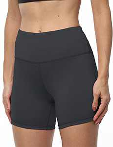 IOJBKI High Waisted Biker Shorts Tummy Control Yoga Workout Running Shorts with Pockets for WomenKH510-Grey-L