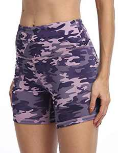 IOJBKI High Waisted Biker Shorts Tummy Control Yoga Workout Running Shorts with Pockets for Women(KH510-PinkPurple Camouflage-S)