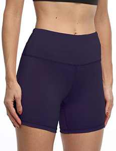 IOJBKI High Waisted Biker Shorts Tummy Control Yoga Workout Running Shorts with Pockets for WomenKH510-Navy Blue-M