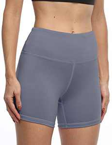 IOJBKI High Waisted Biker Shorts Tummy Control Yoga Workout Running Shorts with Pockets for Women(KH510-Light NB-XXL)
