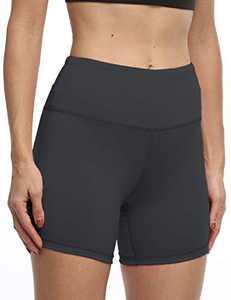 IOJBKI High Waisted Biker Shorts Tummy Control Yoga Workout Running Shorts with Pockets for Women(KH510-Grey-S