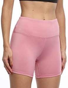 IOJBKI High Waisted Biker Shorts Tummy Control Yoga Workout Running Shorts with Pockets for Women(KH510-Pink-XL)