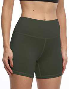 IOJBKI High Waisted Biker Shorts Tummy Control Yoga Workout Running Shorts with Pockets for Women(KH510-Army Green-S)