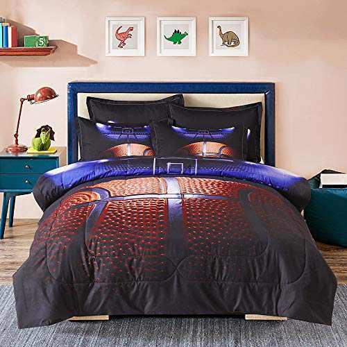 Sisher 3D Basketball Twin Comforter Set (68x88 Inch), Microfiber Sport Microfiber Quilt Sets 2 Pieces(1 Comforter, 1 Pillowcase) Comforter Bedding Set for Boy Kids, Teen