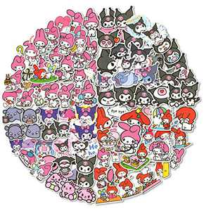 100pcs Kuromi Stickers for Laptop, My Melody Stickers for Water Bottle, Anime Stickers Waterproof Trendy Vinyl Decal Cartoon for Tenns Adults, Kids