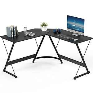 Yesker L Shaped Computer Desk, Home Office Corner Gaming Desk, 51 Inch L-Shape Space-Saving Desk, Modern L Shaped Desk Table for Workstation Studying Writing, Easy to Assemble Black