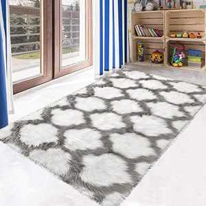 HEBE Fluffy Sheepskin Rugs Shaggy Area Rugs 3x5 Ft for Kids Baby Children Fluffy Carpet for Kids Room Bedside Nursery Rug, White & Grey