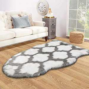 HEBE Faux Fur Rug Sheepskin Rug Runner 3 x 5 Ft Sheep Skin Chair Couch Cover White Irregular Area Rug for Bedroom Living Room Nursery Rug