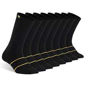 CHINE HIGH Men's Athletic Crew Socks 8 Pairs Cushioned Socks for Men Sport Lightweight & Breathable 8-12/12-15