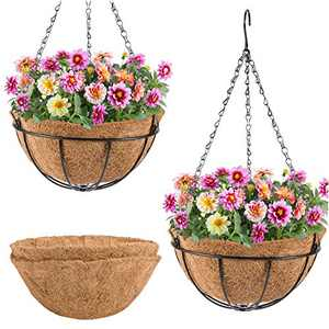 2 Pack Hanging Planter Baskets with 3 Leg Chains Set- 2pcs Hanging Wire Baskets Holders with 4pcs Coco Coir Liner Hanging Wall Basket Coconut planter for Indoor Outdoor Home Garden Plants ( 10 Inches)