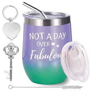 Wine Tumbler Gift Set - Mugs for Women, 12 OZ Stainless Steel Double Insulated Stemless Wine Glass with Lid Straw and Keychain , Gift Set for Women Friends