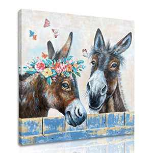 MELTBOR Sweet Donkey Flowers Wall Art Poster without Wooden Frame for Living Room Farmhouse Décor 20''x20''