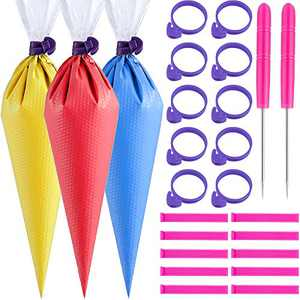 122 Pieces Cookie Decorating Tools 100 Pieces Pastry Piping Bags Cupcake Decorating Bags,10 Pieces Pastry Bag Ties,10 Pieces Sealing Clips and 2 Pieces Plastic Awls for Cupcake Cookies Decor (Purple)