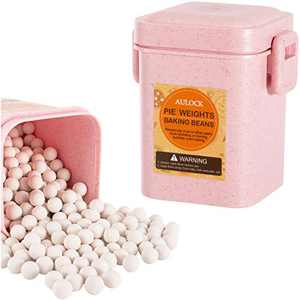 1.3 LB 10mm Baking Ceramic Pie Weights with Pink Storage Box- Reusable Ceramic Baking Beans Weights for Baking Crust & Pastry Utensils