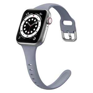 YSSNH Compatible with Apple Watch Bands 38mm 40mm iWatch Bands 44mm 42mm for Women, Thin Narrow Soft Silicone Sport Replacement Wristband for iWatch Series SE 1 2 3 4 5 6, Men