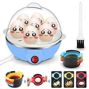 Egg Cooker for Hard Boiled Eggs Electric Egg Boiler Maker with Measuring Cup, Quickly Makes 7 Eggs, Hard, Medium or Soft Boiled, 5.9 x 5.9 x 5.9