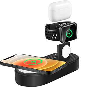 3 in 1 Wireless Charging Station Mag Fit Designed, Docking Charger Stand Compatible with iPhone iWatch Airpods MagSafe (Chargers Not Included)