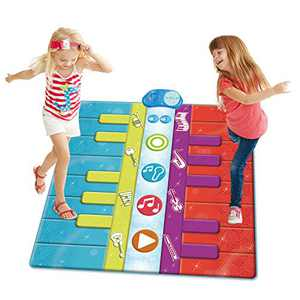SUNLIN Duo Floor Piano Mat for Kids Toddlers, 26 Keys Keyboard Play Dance Mat for Boys Girls, Musical Learning Toys Gift - with 8 Instrument Sounds, 10 Built-in Demo, Record & Playback (37.5x35.5in)