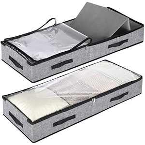 SGHUO Underbed Storage Containers Cube, Under Bed Storage Shoe Organizer Basket with Clear Windows and Reinforced Handles, Gear Storage Box, 2 Pack, 60L