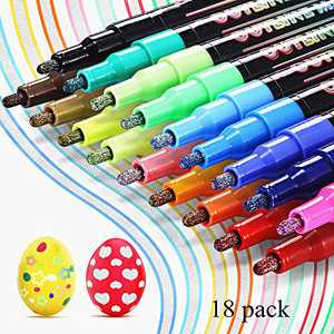 18 Colors Self Outline Metallic Markers, Magic Double Line Outline Pens for Writing, Drawing, Birthday Card, Art,Crafts