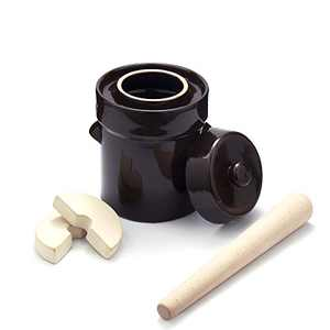 2 L Fermentation Crock- Stoneware Crock Jar with Stone Weights, Lid & Pickle Tamper for Sauerkraut, Vegetables, Pickling Kimchi, Pickles, Kombucha Fermenting