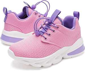 WHITIN Girls Shoes Little Kids Sneakers Purple Pink Size 2 Youth Running Gym Walking Casual Fashion Lightweight Comfortable Breathable Zapatos deportivos para niños No Tie Children Teen Wide 34