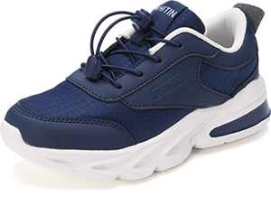WHITIN Shoes Girls Little Kids Sneakers Boys Size 2.5 Blue Navy Youth Running Gym Walking Casual Fashion Lightweight Comfortable Breathable Zapatos para niños No Tie Cute Arch Support Leather 35