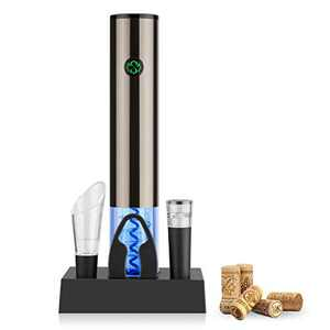 Electric Wine Opener with charging base, Automatic Corkscrew Rechargeable Touch-Sensor Wine Bottle Opener Set with Foil Cutter Vacuum Stopper, Wine Aerator Pourer for Wine Lover