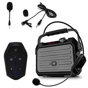 Wireless PA System with Wireless Headset Microphone Lavalier Lapel Microphone Transmitter, 30W Wireless Voice Amplifier Portable Rechargeable Bluetooth Loudspeaker Speaker for Teachers etc