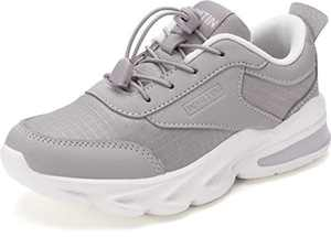 WHITIN Grey Little Kids Sneakers Boys Gray Girls Shoes Size 2 Youth Running Gym Walking Casual Fashion Lightweight Comfortable Breathable Zapatos deportivos para niños No Tie Children Teen Wide 34