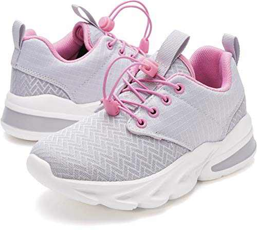 WHITIN Girls Shoes Little Kids Sneakers Grey Pink Size 2 Youth Running Gym Walking Casual Fashion Lightweight Comfortable Breathable Zapatos deportivos para niños No Tie Children Teen Wide 34
