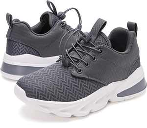 WHITIN Grey Little Kids Sneakers Boys Gray Girls Shoes Size 11 Youth Running Gym Walking Casual Fashion Lightweight Comfortable Breathable Zapatos de niñas Gifts Sports Mesh Elastic Laces 29
