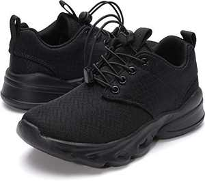 WHITIN Little Kids Shoes Boys Sneakers Girls Size 1 All Black Youth Running Gym Walking Casual Fashion Lightweight Comfortable Breathable Zapatos para niños Athletic Active Elastic Laces 33