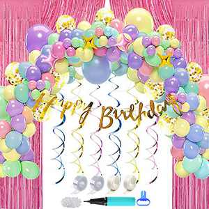ArcHome 163PCS Balloon Arch Kit, Unicorn Birthday Decorations for Girls, Unicorn Balloon Garland Kit With Giant Unicorn Foil, Stars, 6.6 Ft Metallic Tinsel Curtains, Gold Birthday Banner, Tying Tool and More For Unicorn Party Supplies And Decorations For Girls Birthdays
