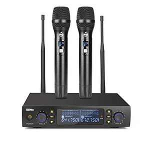 UHF Wireless Handheld Microphone 200FT and 2x100 Channels Dual Professional Cordless Dynamic Mic Handheld Infrared Counter Frequency Microphone System for Home Karaoke Meeting Party