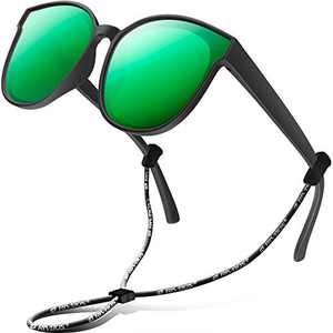 RIVBOS Kids Sunglasses for Girls Boys with Strap Polarized UV Protection Flexible Rubber Shades RBK002-3 Black Ice Green Lens