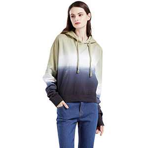 Womens Casual Hoodie Sweatshirts Midweight Long Sleeve Drawstring Pullover Tops Shirts BESTARRY (Brown Blue, XL)