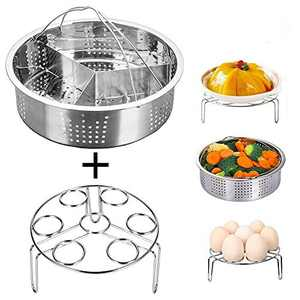 Jsbaby Pressure Cooker Accessories Steam Basket with Egg Steamer Rack, Divider, Fits Pressure Cooker 5,6,8 qt Pressure Cooker, Stainless Steel, Set of 3, Energy Class A + (0.5) (3)