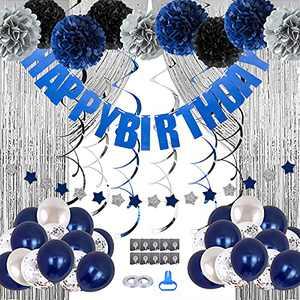 Birthday Decorations Men Blue Birthday Party Decorations for Men Women Boys Grils, Happy Birthday Balloons for Party Decor Suit For 16th 20th 25th 30th 35th 40th 50th 60th 70th