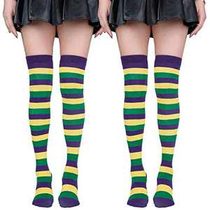 2 Pairs Thigh High Socks for Women Striped Cotton Knit Over the Knee High Stockings Long Tube Leg Warmers Mardi Gras Style 1